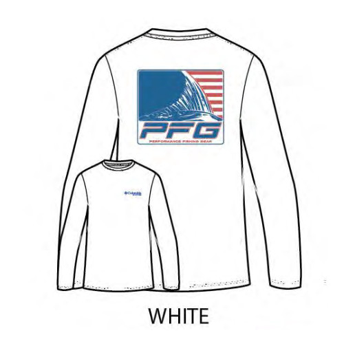 "Men's Columbia Long Sleeve PFG ""Algren"" Tee in White"