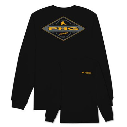 "Men's Columbia Long Sleeve PHG ""Steady"" Tee in Black"