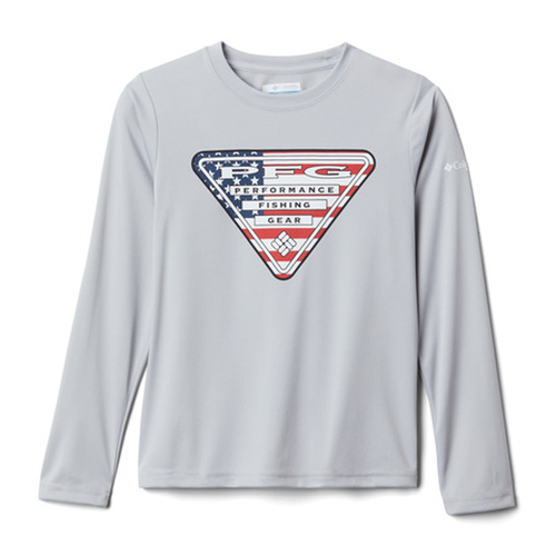 Boys' Columbia Terminal Tackle Triangle Long Sleeve Shirt -Grey