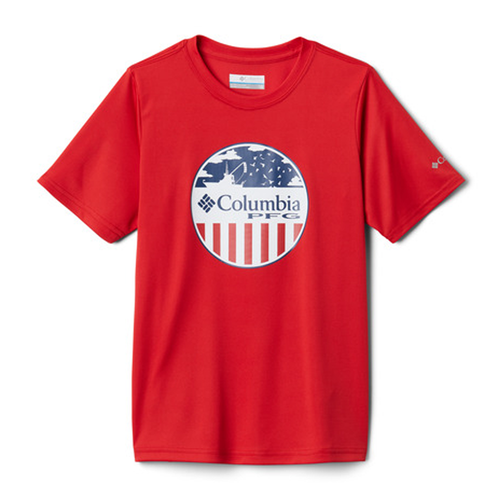 Toddler Boys' Columbia Short Sleeve PFG Stamp Shirt -Red Spark Front