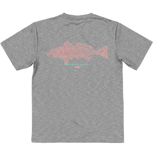 Youth Southern Marsh Short SleeveFieldtec™ Heathered Performance Tee-Redfish MGY-Midnight Gray Back