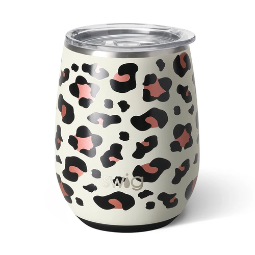 Swig Life 14 oz Stemless Wine Cup -Luxy Leopard