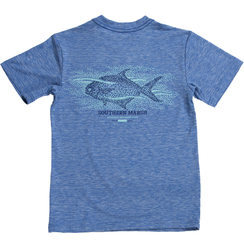 Youth Southern Marsh Short-Sleeve FieldTec™ Performance Tee-Pompano OBL-Oxford Blue Back