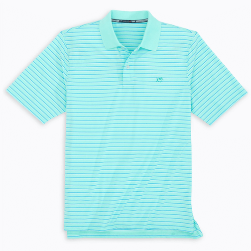 Men's Southern Tide Driver Tri-Color Striped Polo Shirt Off Short Green