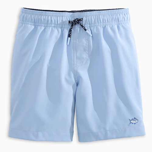 Boys' Southern Tide Solid Swim Trunks Sky Blue Front