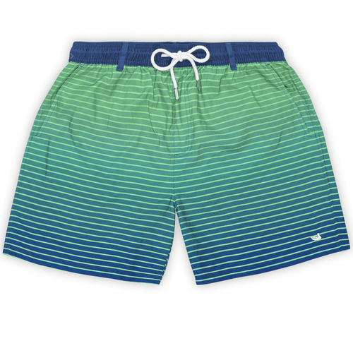Boys' Southern Marsh Harbor Swim Trunk-Faded Lines Navy and Mint Front