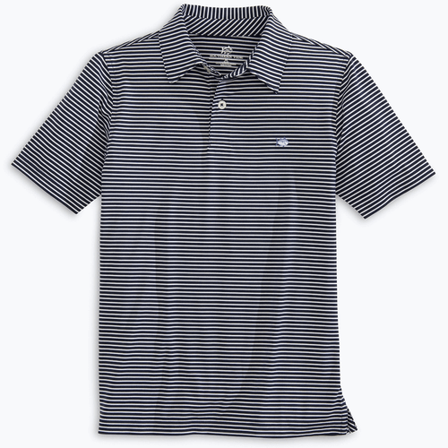 Boys' Southern Tide Striped Driver Performance Polo True Navy Front