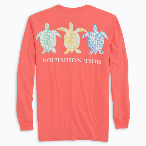 Women's Southern Tide Turtle Flower T-Shirt Fusion Coral
