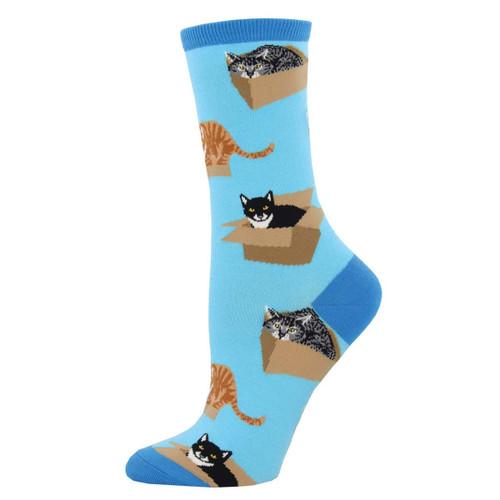 Women's Socksmith Cat In A Box Socks Azure