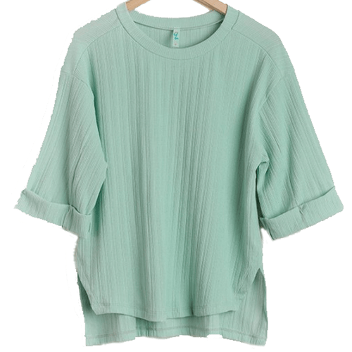 Women's Umgee High Low Round Neck Top-Sage Front