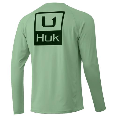 Men's Huk Long Sleeve Huk'd Up Pursuit Performance Tee 336Key Lime Back