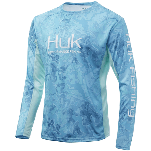 Men's Huk Long Sleeve Icon X Current Camo Performance Tee 446BocaGrande Front