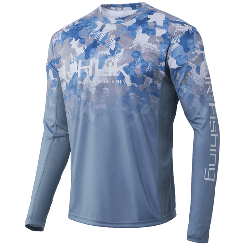 Men's Huk Long Sleeve Icon X Refraction Fade Performance Tee 459Ice Blue Front