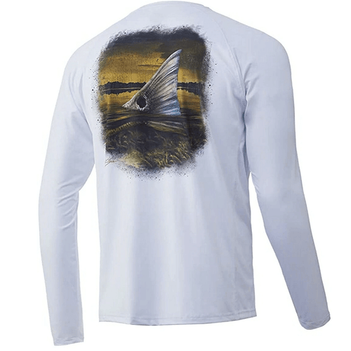 Men's Huk Long Sleeve KC Just Teasin' Pursuit Performance Tee 100White Back