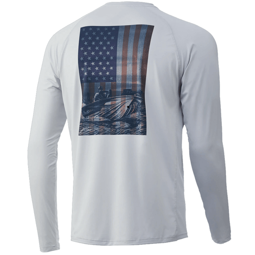 Men's Huk Long Sleeve KC American Shotgun Pursuit Performance Tee 051Glacier Back