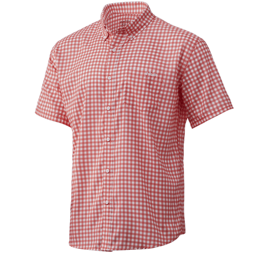 Men's Huk Short Sleeve Teaser Gingham Button Down 634Fushion Coral Front
