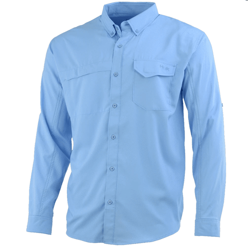 Men's Huk Long Sleeve Tide Point Solid Button Down 420-Carolina Blue Front