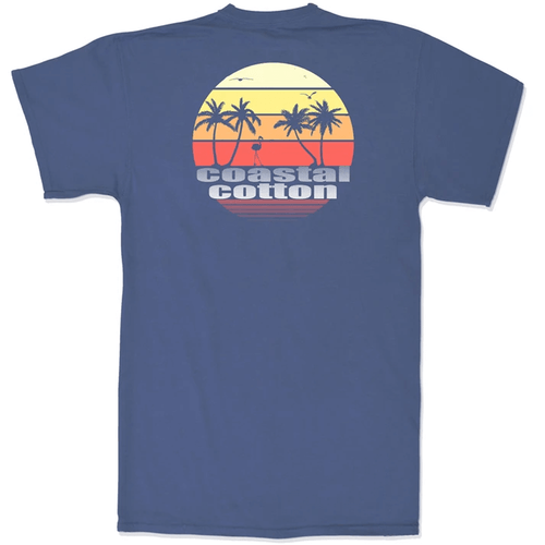 Men's Coastal Cotton Short Sleeve Sunset Tee Navy