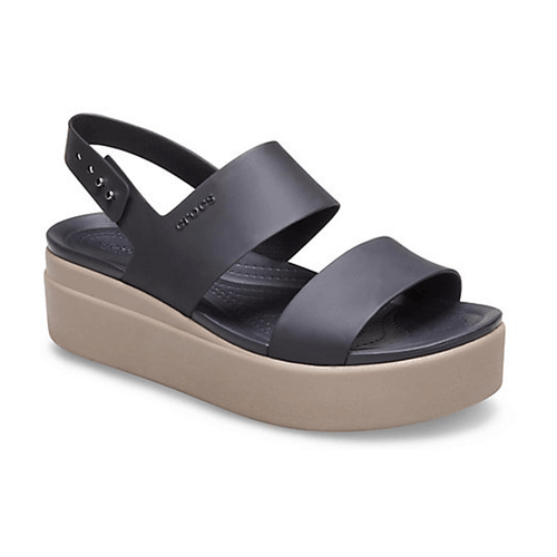 Women's Crocs Brooklyn Low Wedge Sandal Black Mushroom