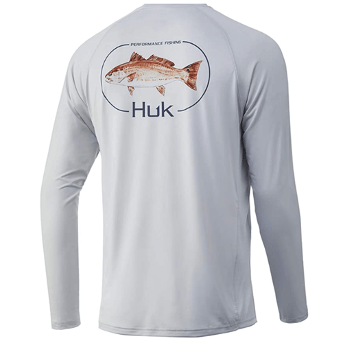 Men's Huk Long Sleeve Redfish Pursuit Performance Tee 051Glacier Back