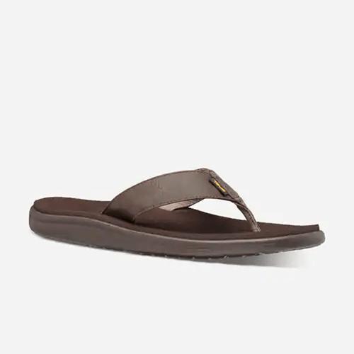Men's Teva Voya Flip Leather Sandal COBR-Chocolate Brown Front