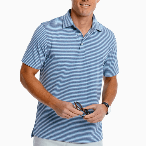 Men's Southern Tide Driver Heather Micro Stripe Polo Front