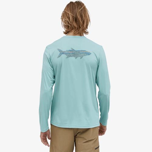 Men's Patagonia Long Sleeve Capilene® Cool Daily Fish Graphic Tee WOFI-Woodgrain Fin Blue Back