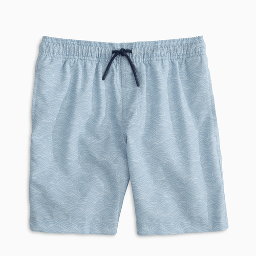 Boys' Southern Tide Wave Print Swim Trunk Front
