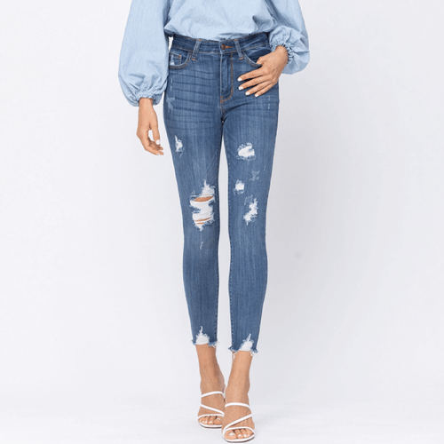 Women's Judy Blue® High Rise Cropped Destroyed Skinny Jeans Front