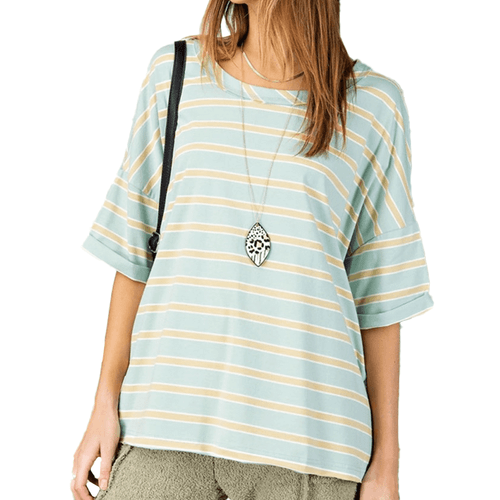 Women's Easel Striped Boxy Top Faded Sage Front