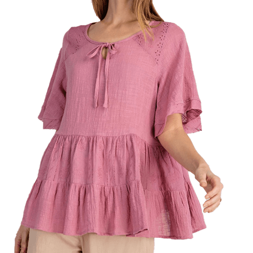 Women's Easel Gauze Ruffle Bottom Blouse Dried Rose Front