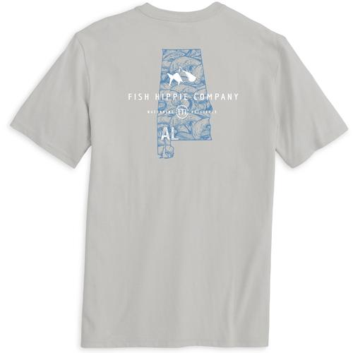 "Men's Fish Hippie Short Sleeve ""Alabama"" Tee Whisper Grey Back"