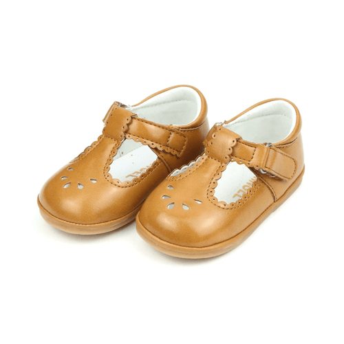 Girls' L'Amour Dottie Scalloped T-Strap Mary Jane Mustard Front