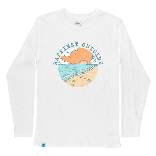 Women's 30A Long Sleeve Happiest Outside Tee - White Front