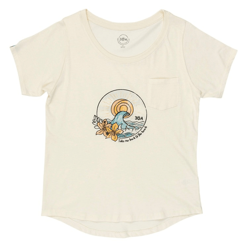 Women's 30A Short Sleeve Back to the Beach Slouch Tee - Cream Front