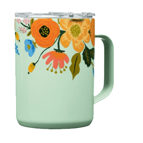 Corkcicle 16 oz. Coffee Mug - Gloss Mint Lively Floral