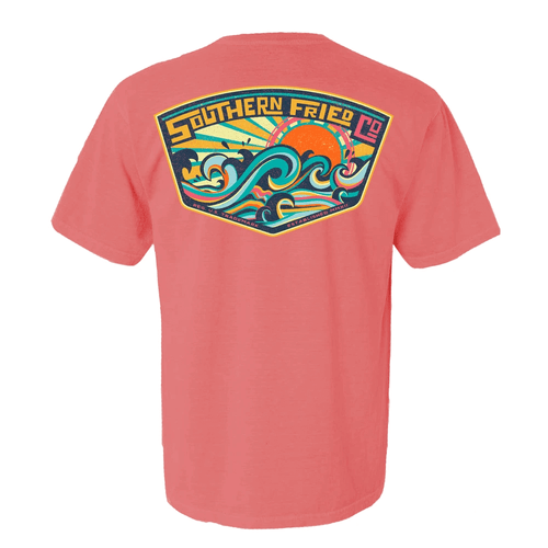 Women's Southern Fried Cotton Short Sleeve Make Some Waves Tee - Watermelon Back