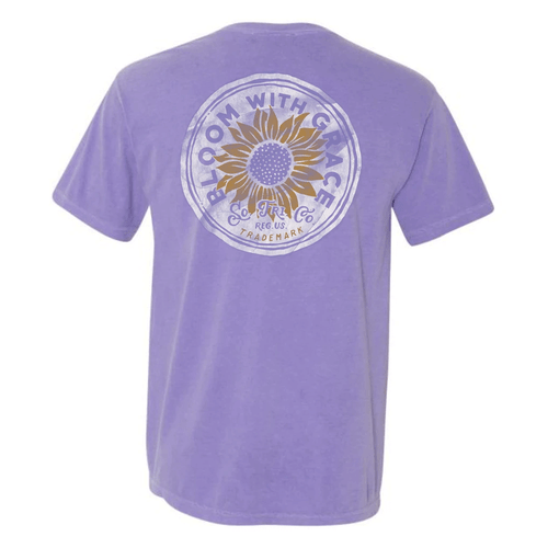 Women's Southern Fried Cotton Short Sleeve Bloom with Grace - Violet Back