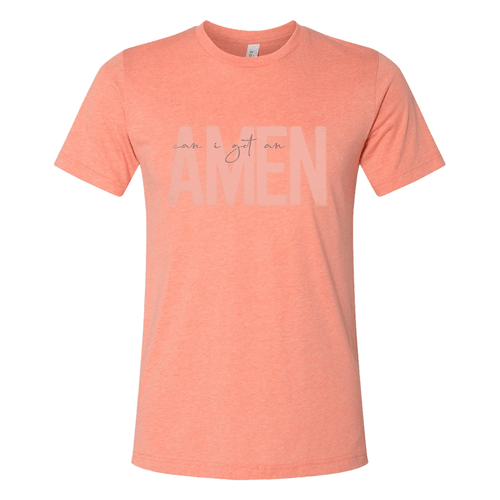 Women's Southern Fried Cotton Bella Canvas Short Sleeve Can I Get An Amen Tee - Heather Sunset Front