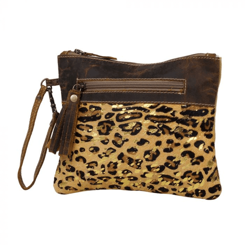 Myra Bag™ Dynamite Canvas and Hairon Wristlet - Leopard Front