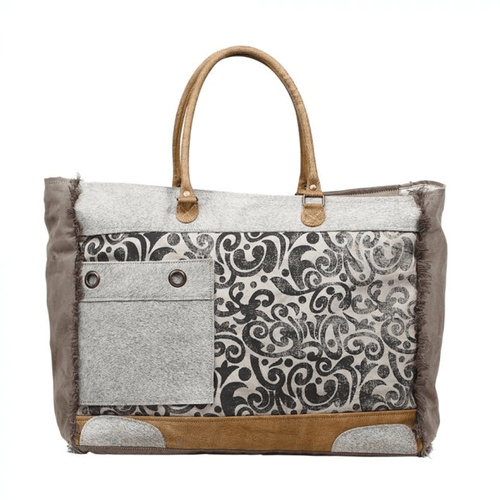 Myra Bag™ Hide & Floral Print Weekender Bag Front