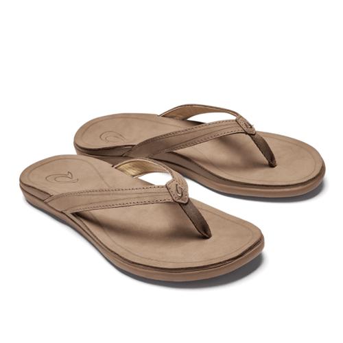 Women's Olukai 'Aukai Leather Sandals Tan Front
