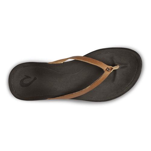Women's Olukai Ho'ōpio Leather Flops Sahara/Dark Java Top