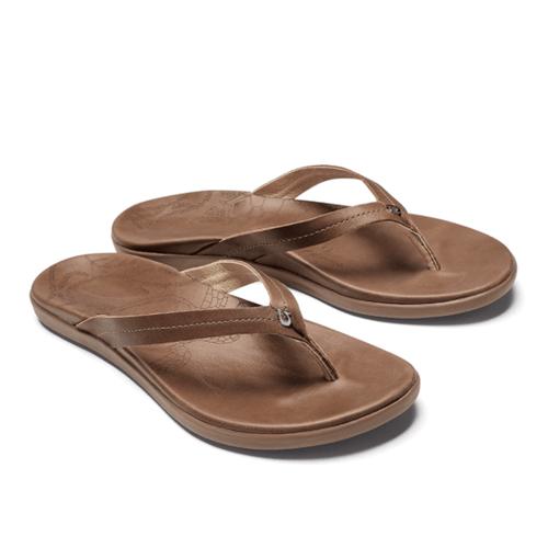 Women's Olukai Honu Leather Sandals Tan Front