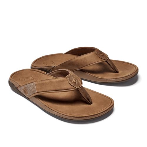 Men's Olukai Tuajine Waterproof Leather Beach Sandal 3333-Toffee Front