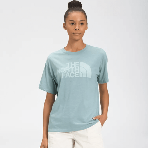 Women's The North Face Short Sleeve Half Dome Tri-Blend Tee X7Q-Misty Jade Heather Front