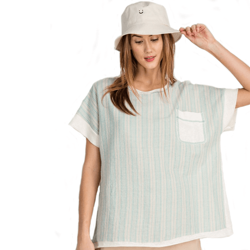 Women's Easel Pin Striped Boxy Top Mint Front