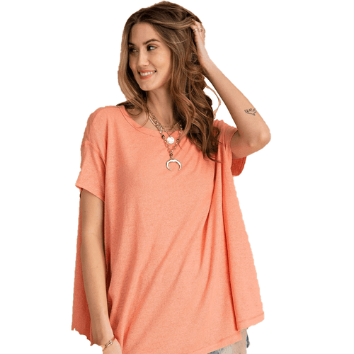 Women's Easel Short Sleeve Cotton Baby Rib Slub Loose Fit Top Coral Front