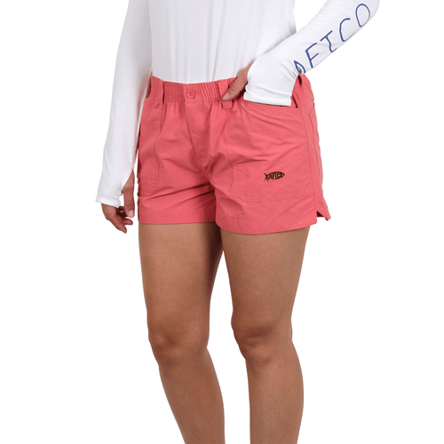 """Women's Aftco 3"""" Original Fishing Shorts Coral Front"""