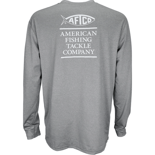 Men's Aftco Long Sleeve Stax Airomesh® Performance Shirt CHHR-Charcoal Heather Back